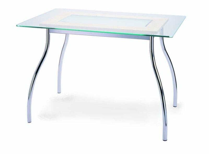 Jídelní stůl obdélník SAXON GLAS 140x80cm kovový se sklem