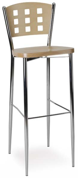 Barová židle AGAVE BAR - kovová kostra, sedák celodřevěný