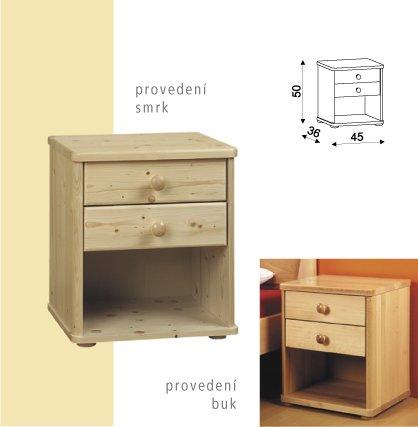 Noční stolek ROBIN 059 - 2 zásuvky - smrk