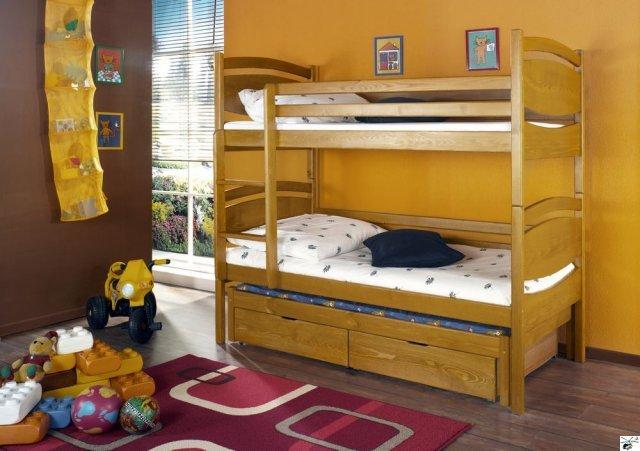 Patrová postel CEZARY - včetně roštů, úložného prostoru a matrací