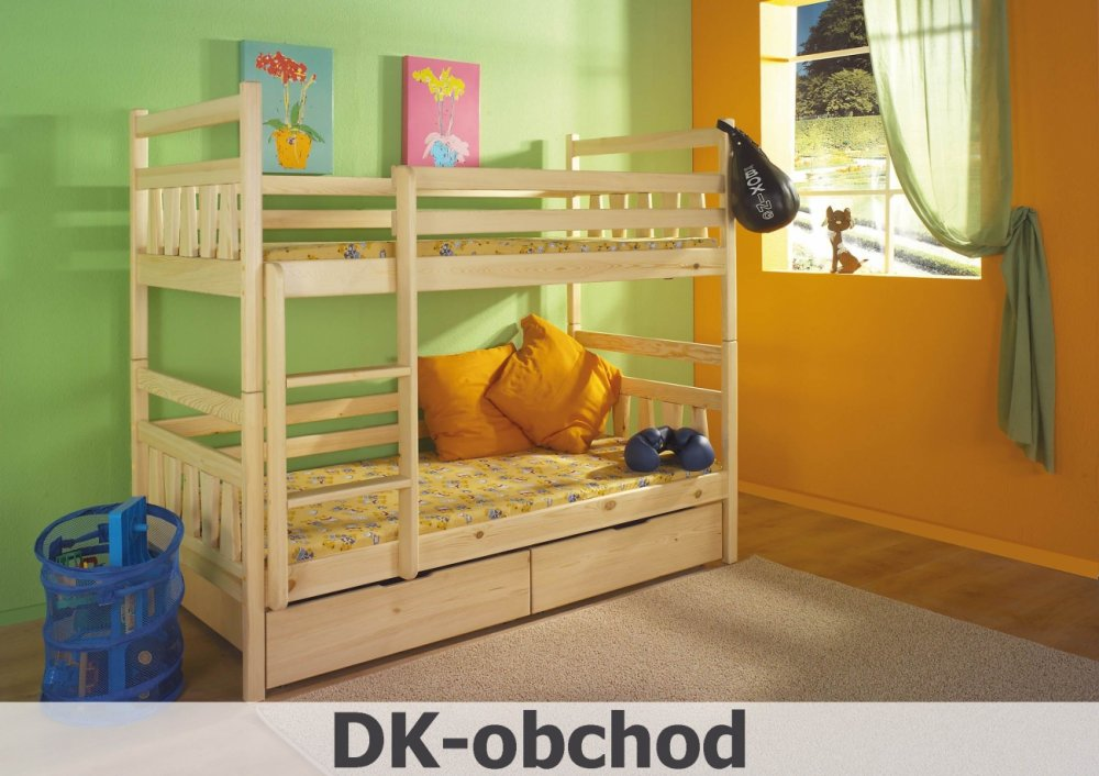 Patrová postel CYPRIAN - včetně roštů, úložného prostoru a matrací