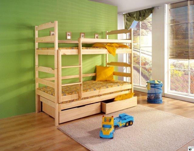 Patrová postel DAMIAN - včetně roštů, matrací a třetího lůžka