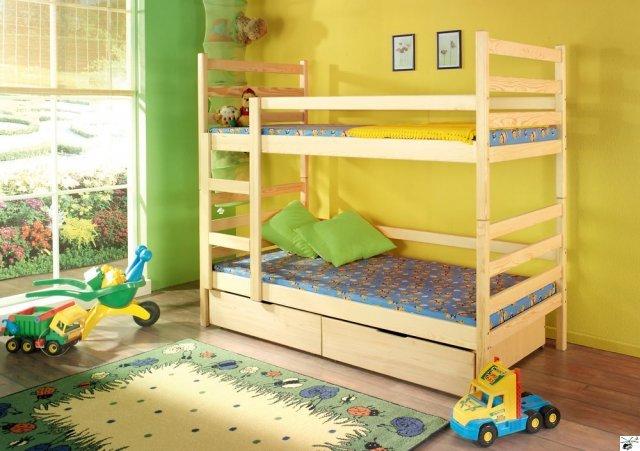 Patrová postel DANIEL - včetně roštů, úložného prostoru a matrací