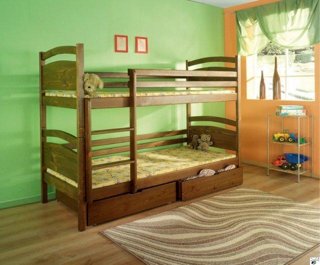 Patrová postel DAVID - včetně roštů, úložného prostoru a matrací
