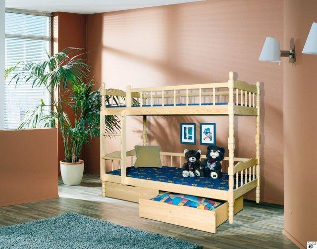 Patrová postel IGOR - včetně roštů, úložného prostoru a matrací