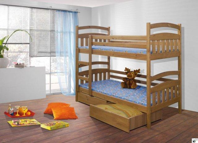 Patrová postel JAKUB - včetně roštů, úložného prostoru a matrací
