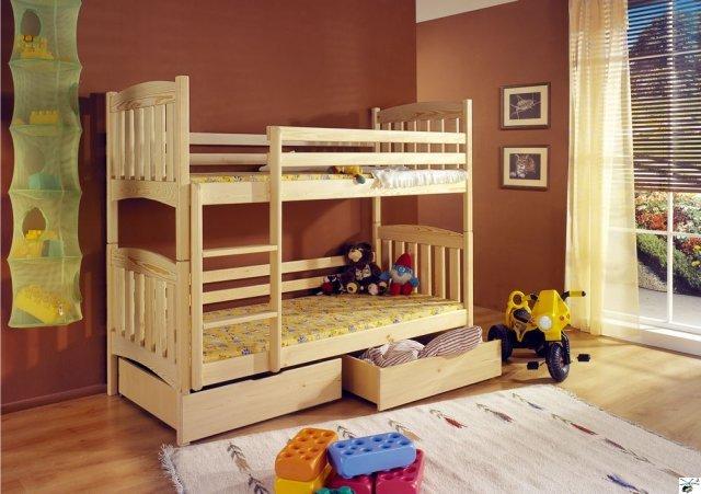 Patrová postel KAMIL - včetně roštů, úložného prostoru a matrací