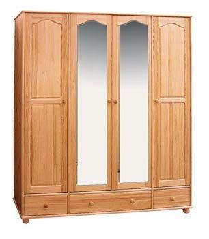 Šatní skříň 4 - masiv borovice se zrcadlem