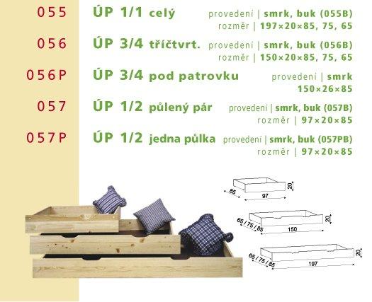 Úložný prostor 057B - půlený (pár) - buk cink