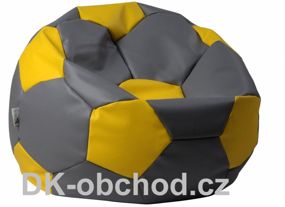 Sedací pytel fotbalový míč - šedo žlutý