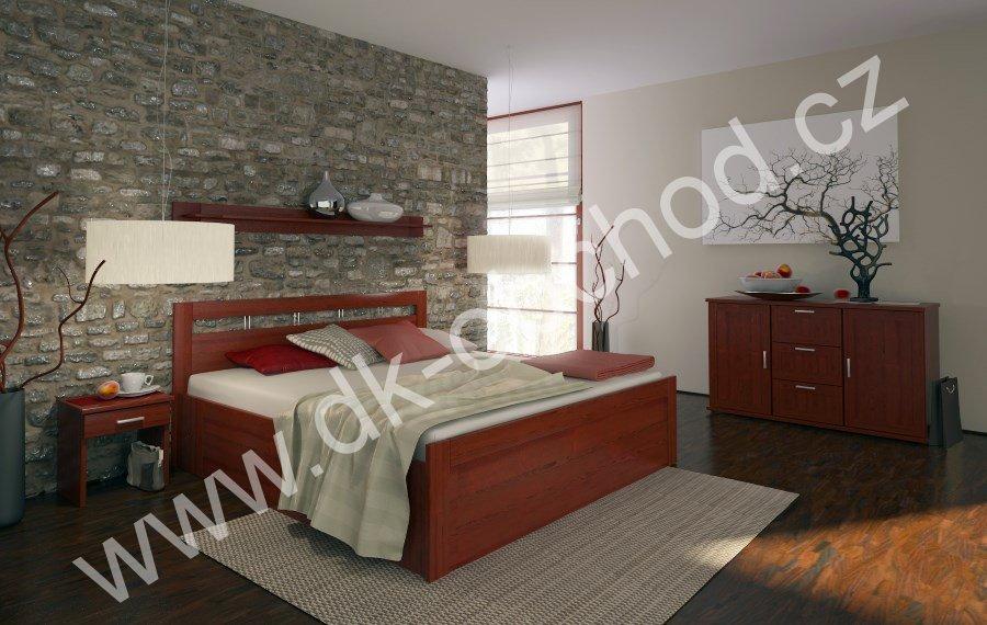 Manželská postel s úložným prostorem TAISA senior - buk