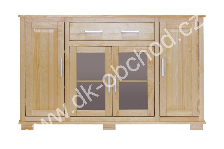 Prosklená komoda 115 - masiv borovice - 156x100