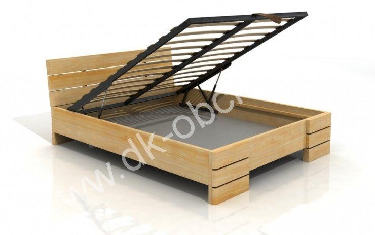 Zvýšená postel s úložným prostorem z masivu Sandemo 200x200 - high