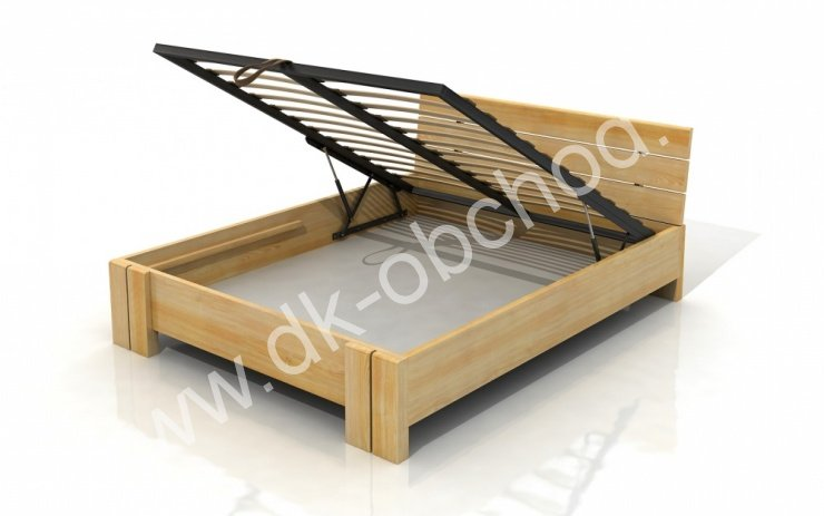Zvýšená postel s úložným prostorem z masivu Arhus 200x200 - high