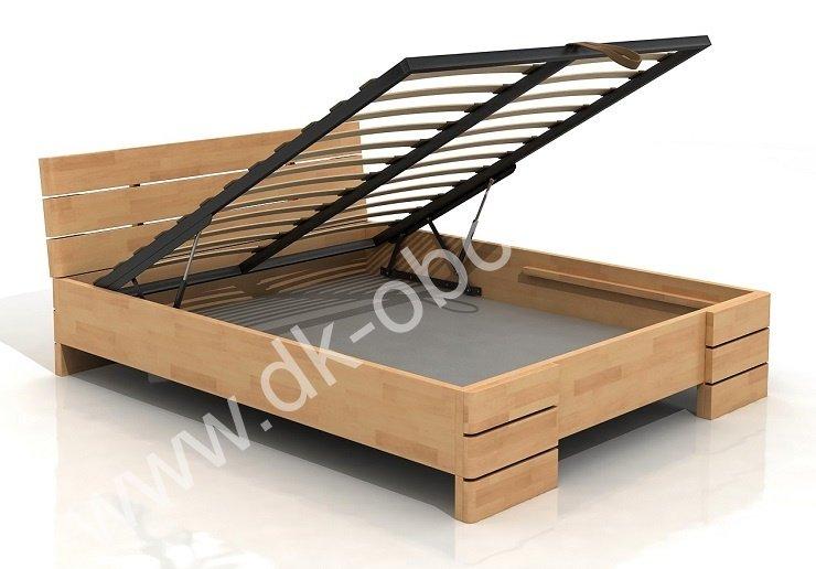 Buková zvýšená postel s úložným prostorem z masivu Sandemo 140x200 - high