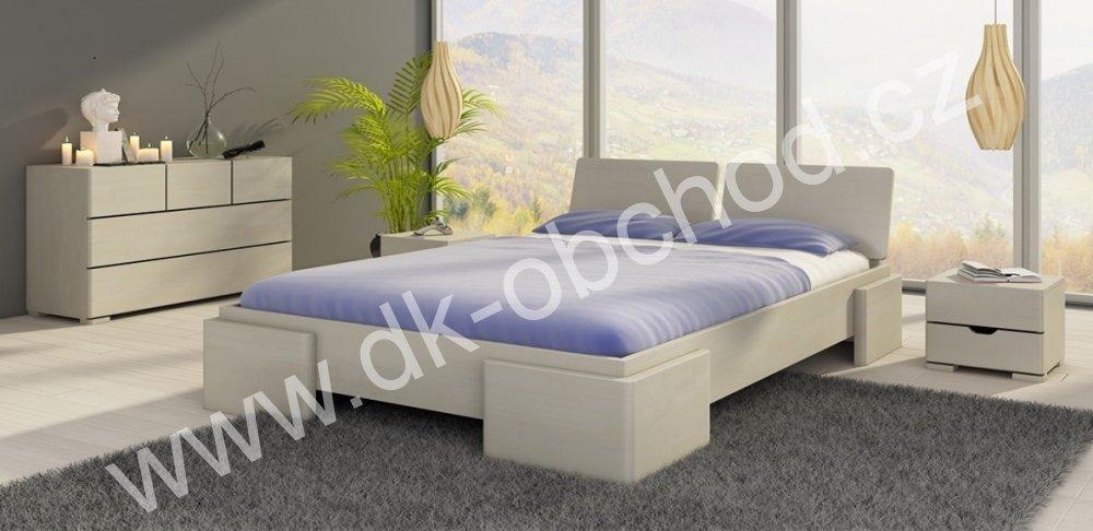 Zvýšená postel z masivu Argento 200x200 - high