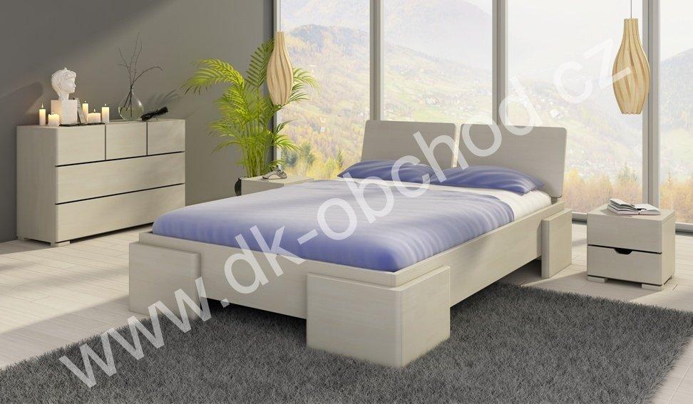 Zvýšená postel z masivu Argento 140x200 - high