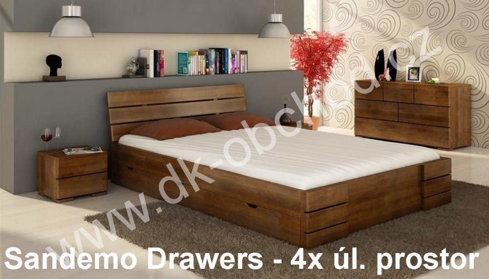 Buková postel s úložným prostorem 180x200 Sandemo Drawers