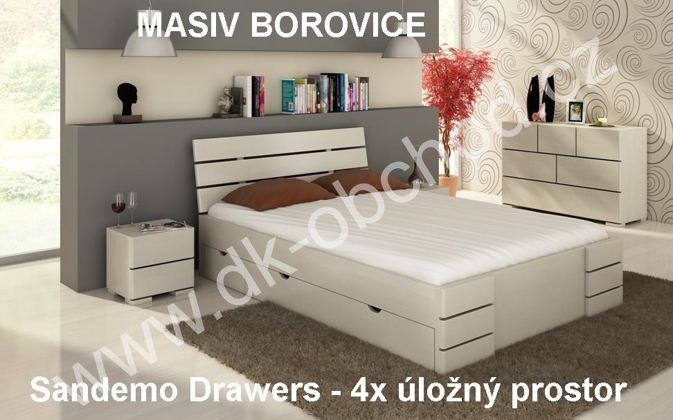 Postel s úložným prostorem 140x200 Sandemo Drawers - masiv borovice