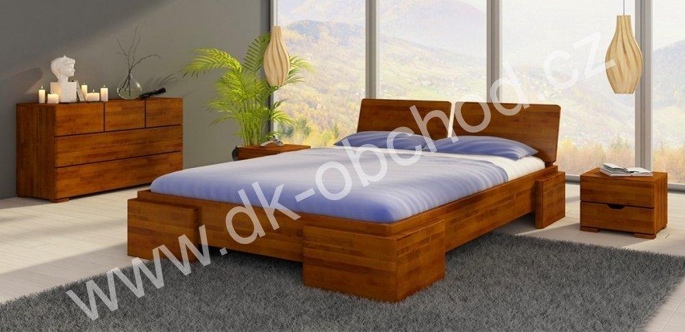Buková zvýšená postel z masivu Argento 200x220 - high