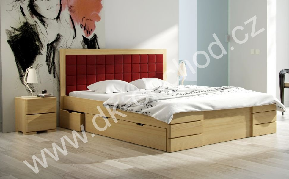 Postel s úložným prostorem 200x200 Gotland Drawers - masiv borovice