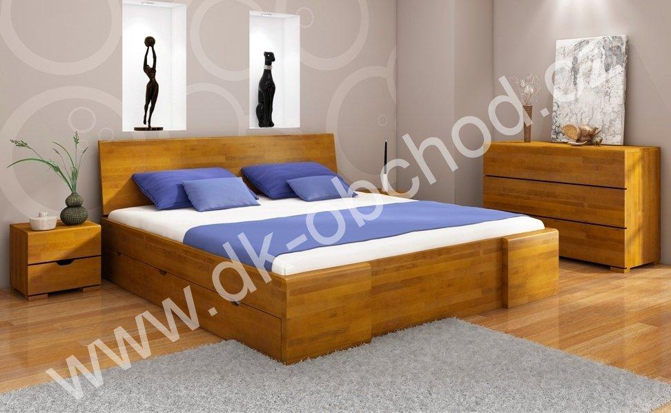 Buková postel s úložným prostorem 200x200 Hessler Maxi Drawers