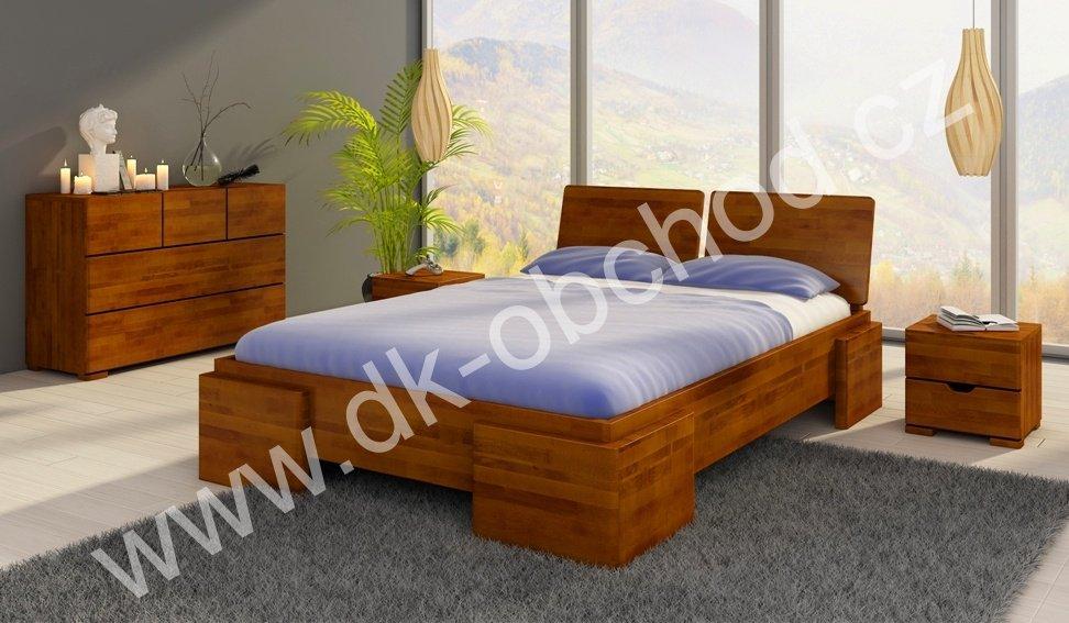 Buková zvýšená postel z masivu Argento 200x200 - high