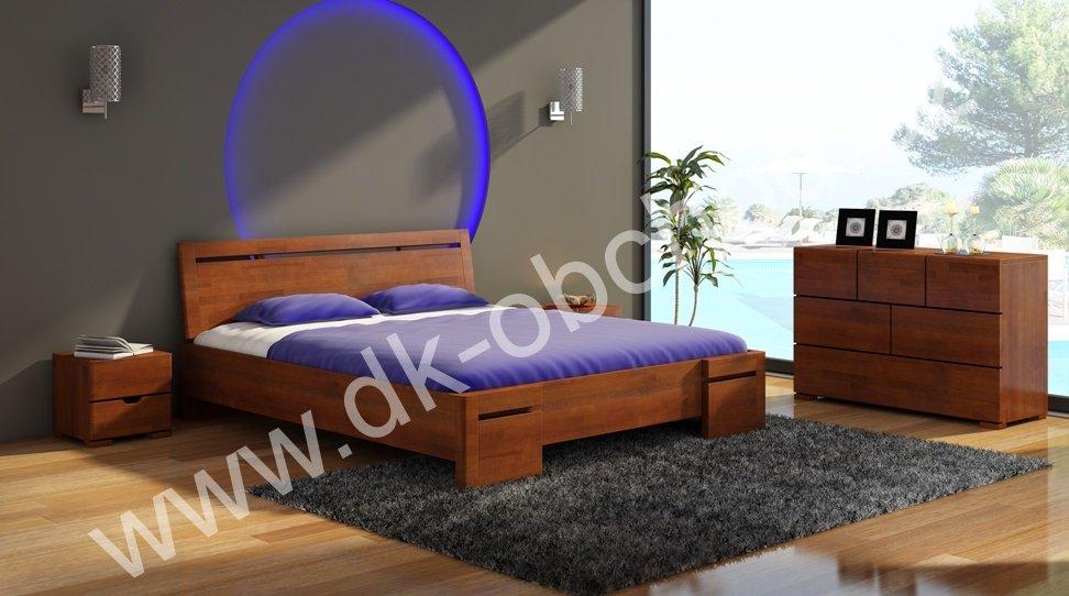 Buková zvýšená postel z masivu Salerno Maxi 200x200