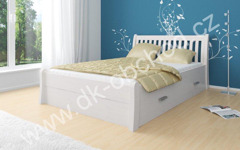 Bílá postel s úložným prostorem MASSA 180x200 cm - masiv borovice