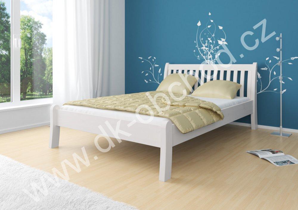 Bílá manželská postel MASSA 180x200 cm - masiv borovice