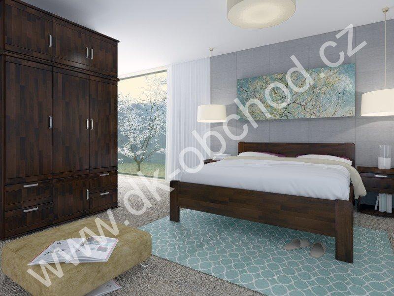 Buková zvýšená manželská postel KARIN