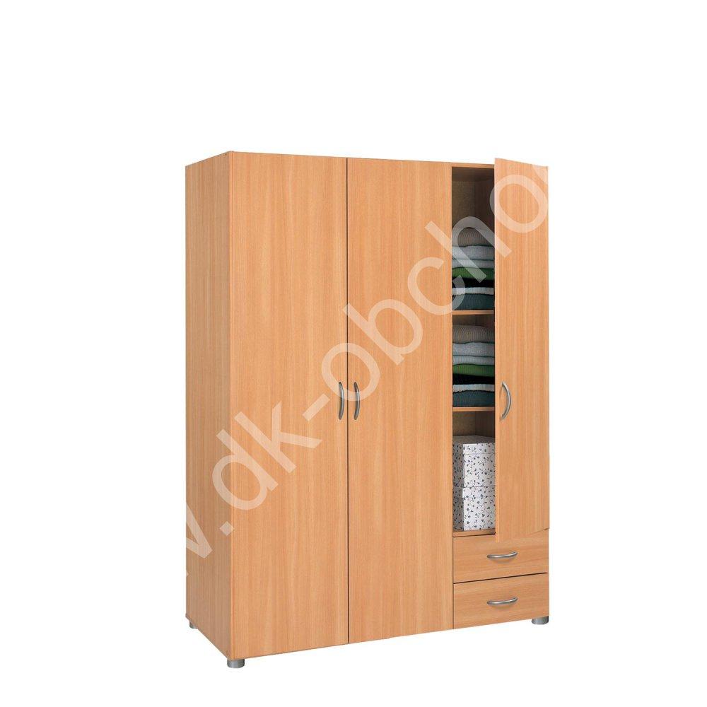 Šatní skříň třídveřová A4 - lamino buk