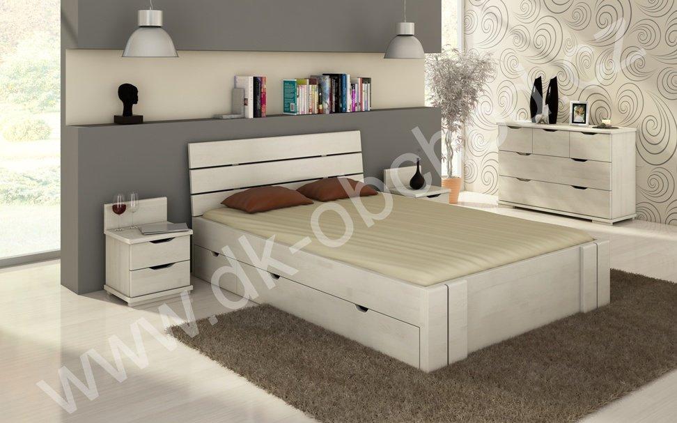 Buková postel s úložným prostorem 180x200 Arhus Maxi Drawers